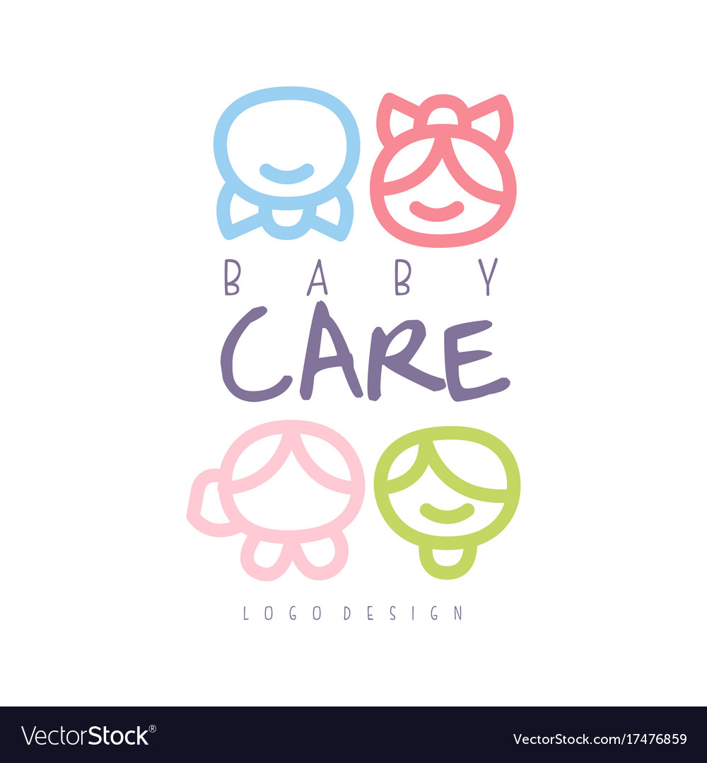 Baby care logo design emblem with kid faces