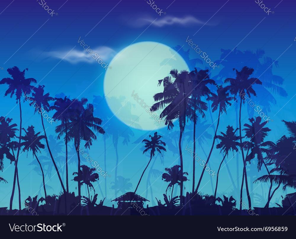 Big blue moon twilight with dark palms silhouettes