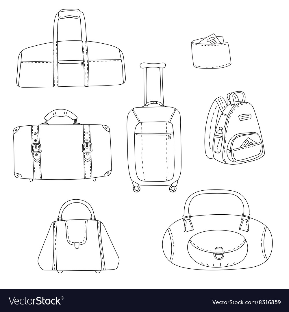 Black And White Travel Bags Linear Drawings Set