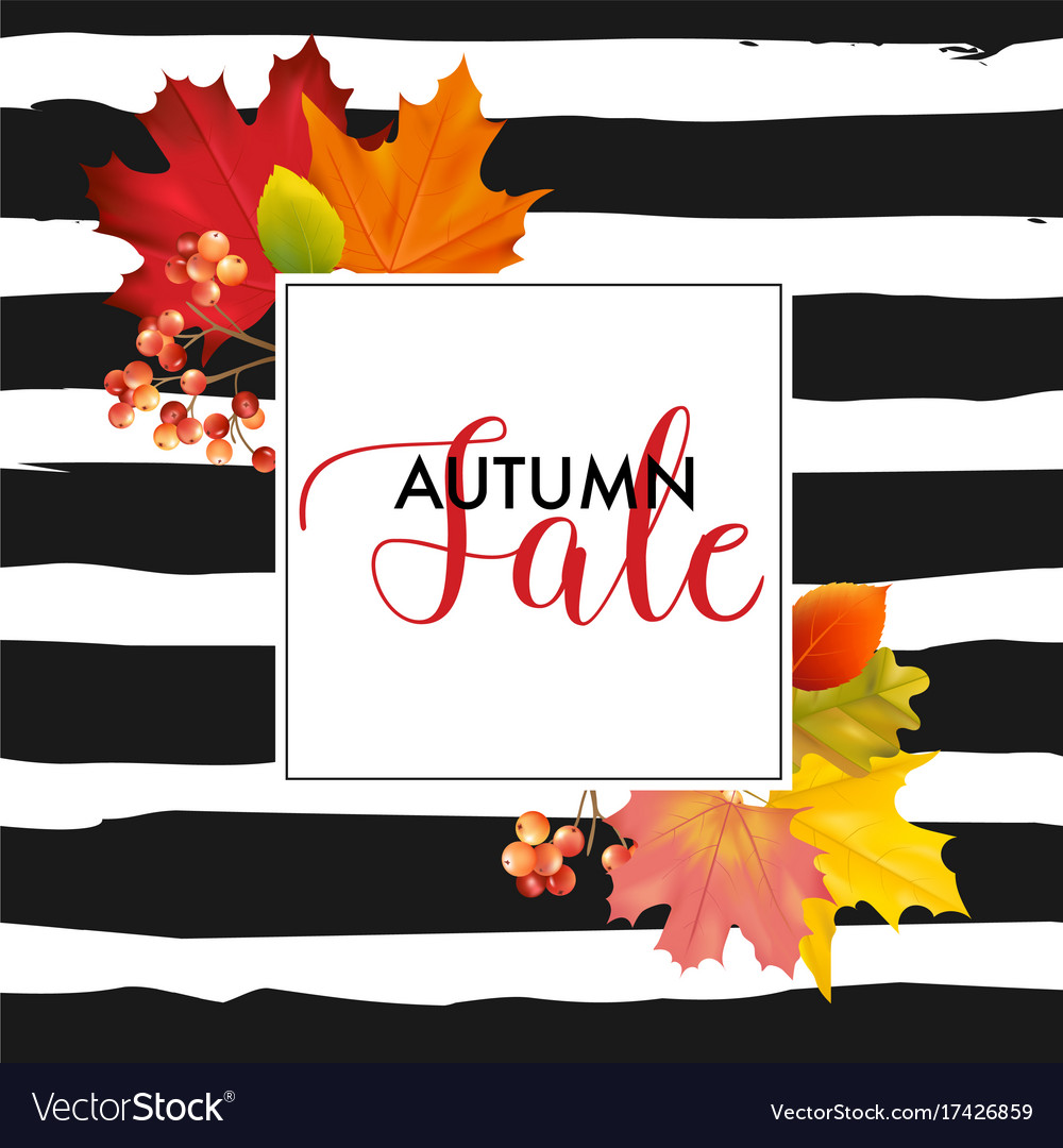 Colorful sale card or banner with autumn leaves