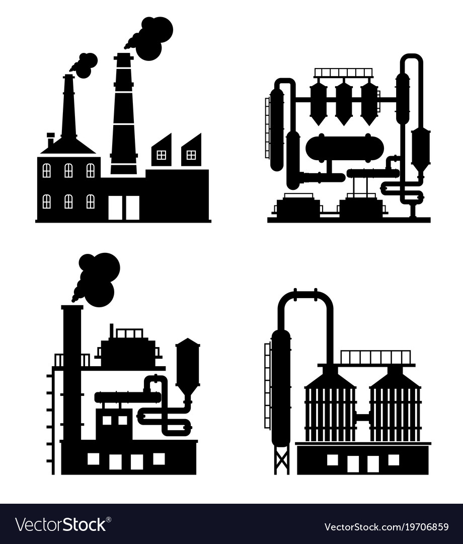 Industrial building factory and power plants icon
