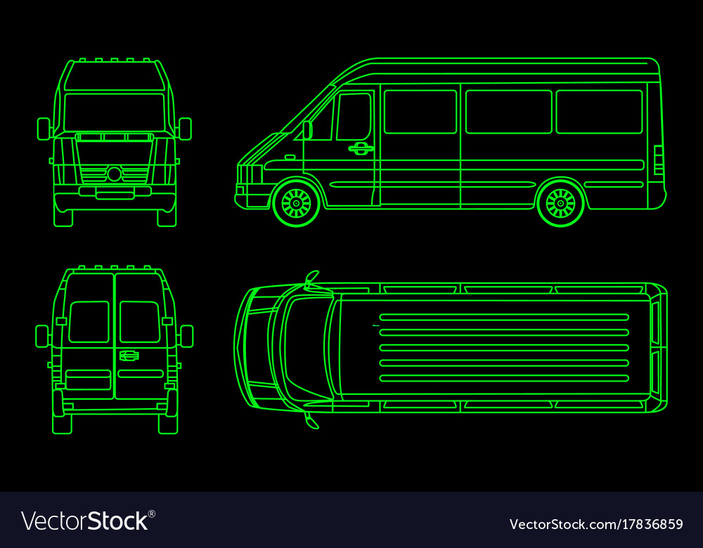 Linear truck pattern on a dark background view