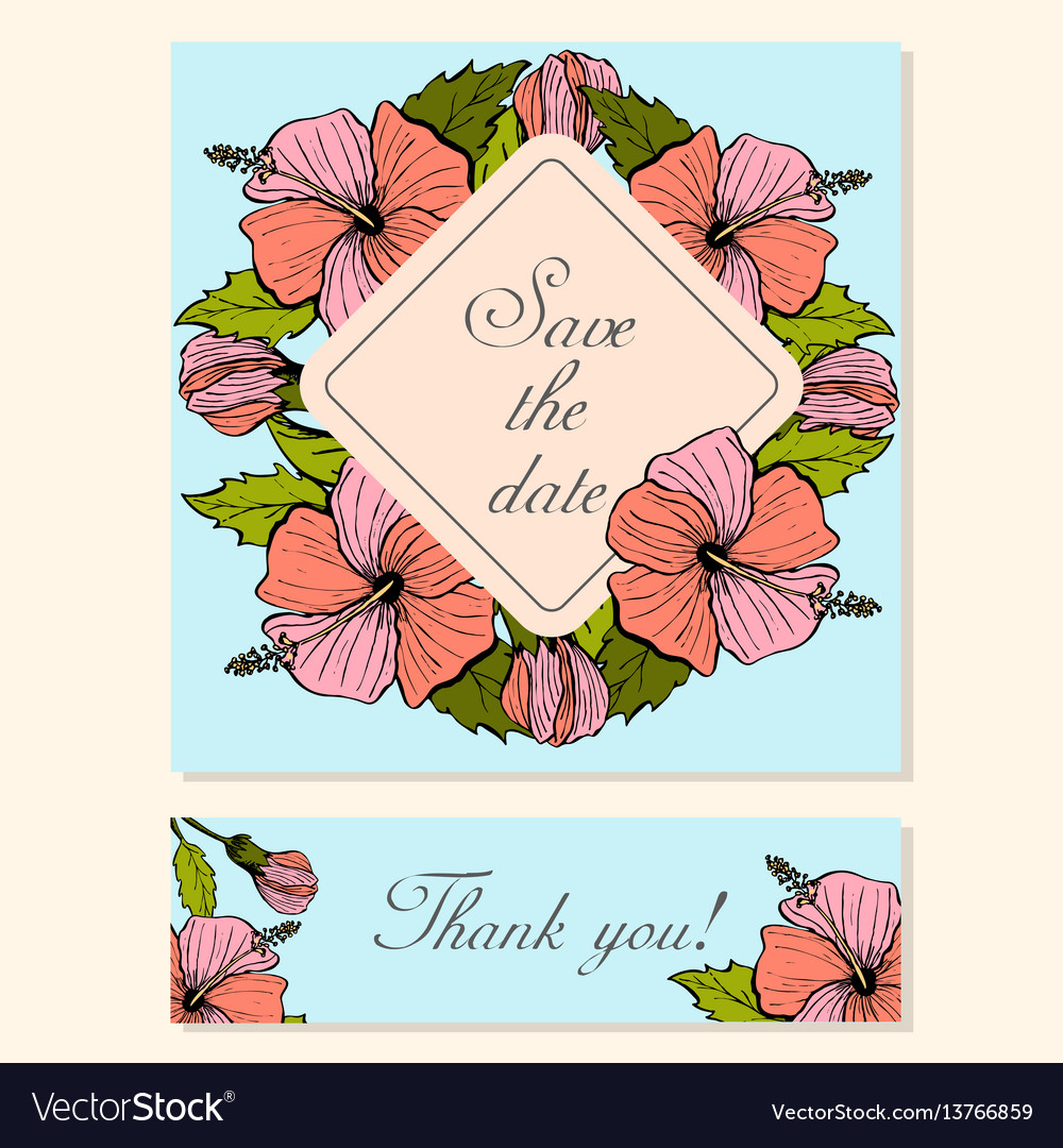 Set of cards with hibiscus floral motifs