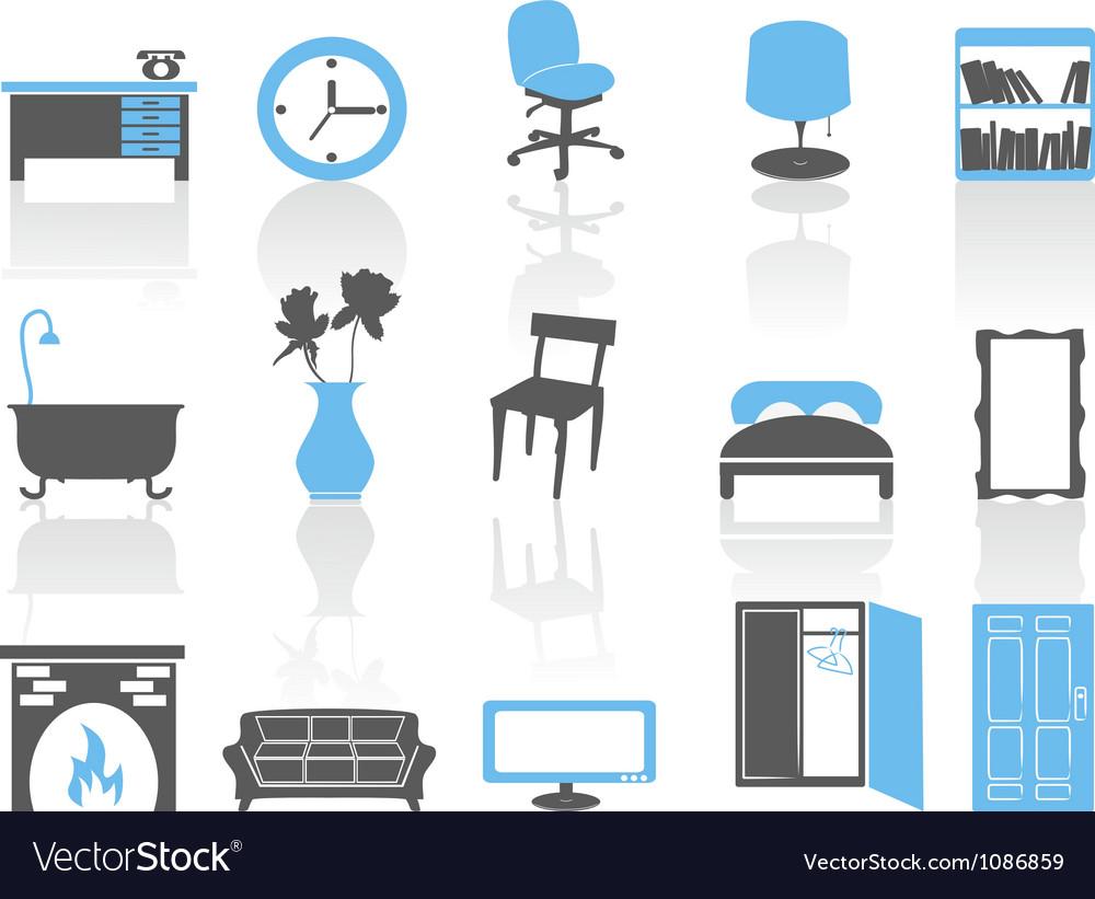 Simple interior furniture icons setblue series