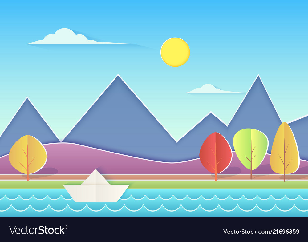 Trendy paper cuted landscape with mountains hills