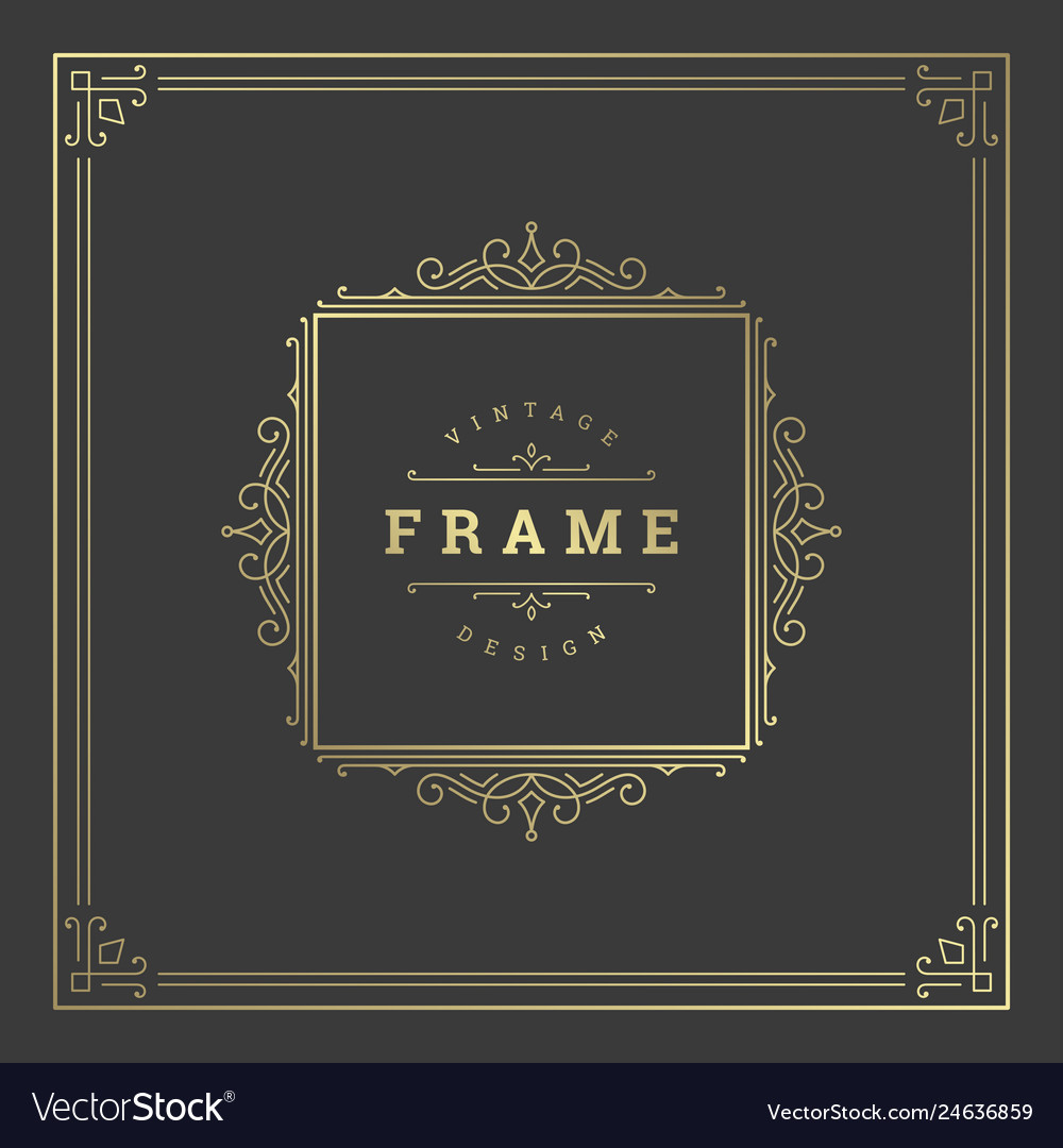 Vintage flourishes ornament frame template