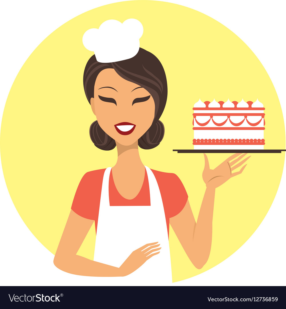 Young girl confectioner vector image