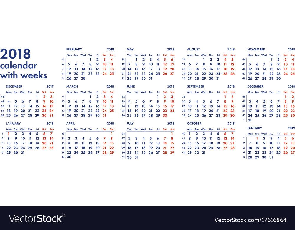 2018 calendar grid with weeks vector image