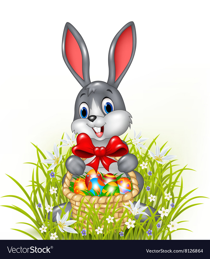 A Easter Bunny With A Basket Of Painted Easter Egg