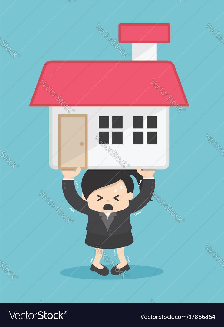 Business woman debt cartoon vector image