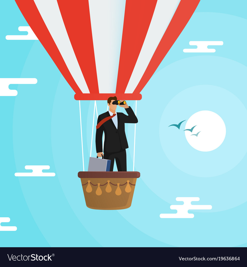 Businessman flying in a hot air balloon in search