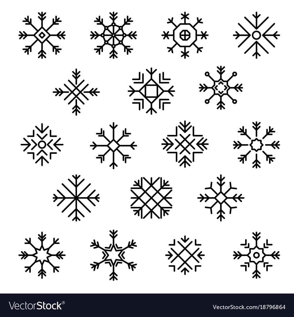 flat design line snowflakes christmas winter vector image