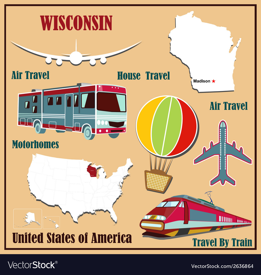 Flat Map Of Wisconsin Royalty Free Vector Image - Us-flat-map