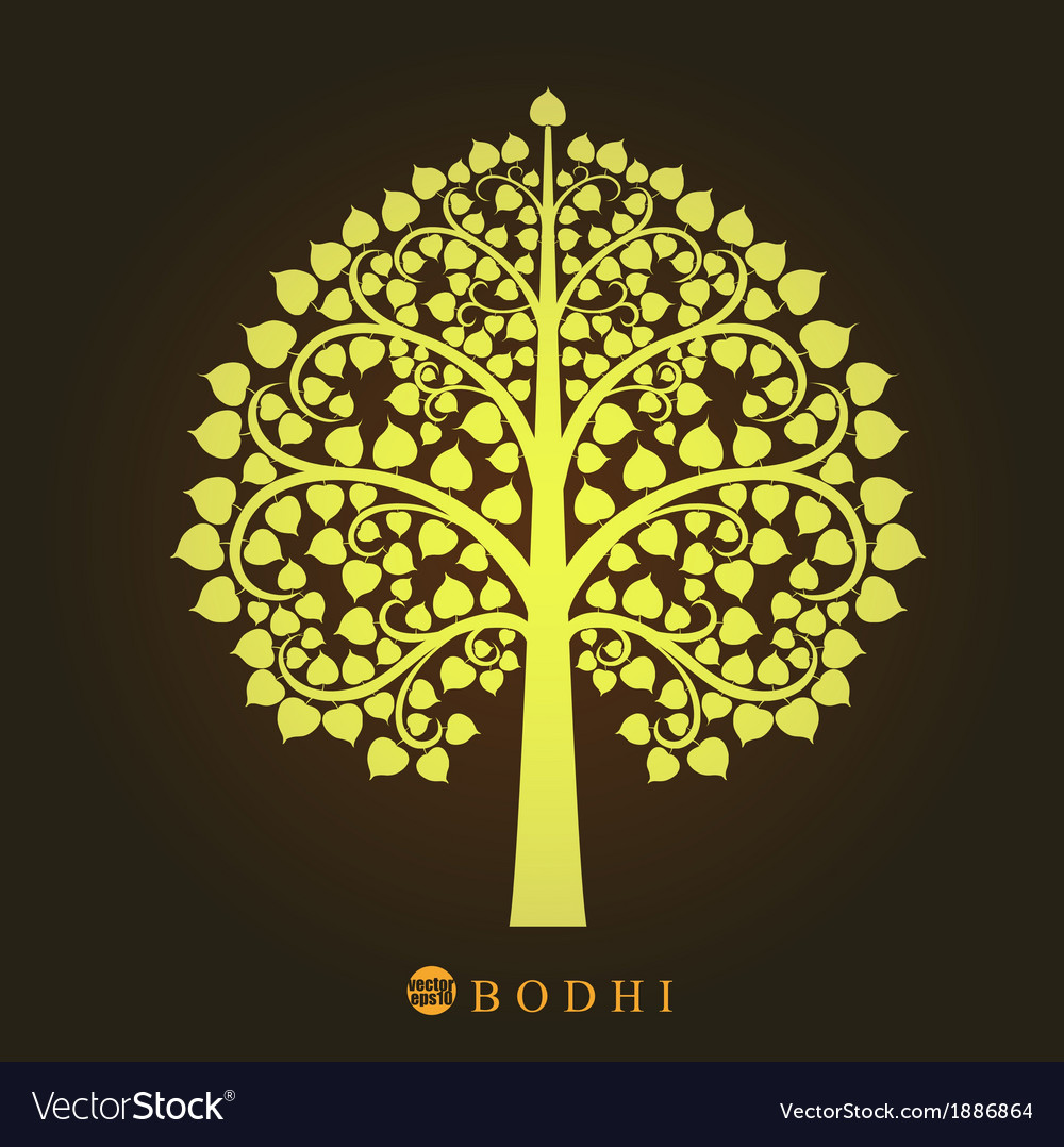 Gold Bodhi tree in Thai art style