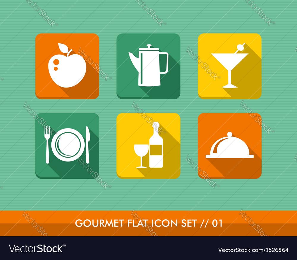 Gourmet menu flat icons set vector image