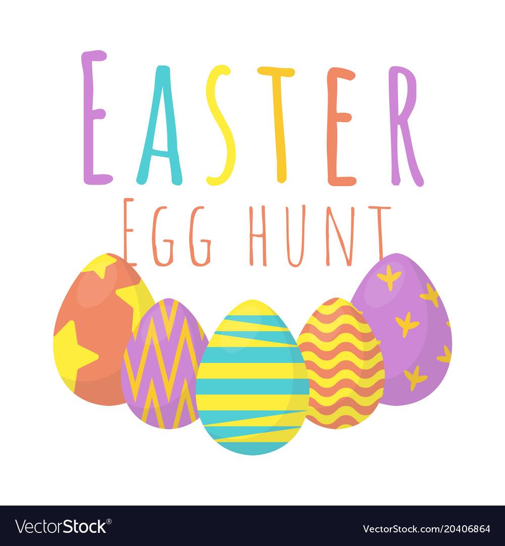 happy easter egg hunt background vector image