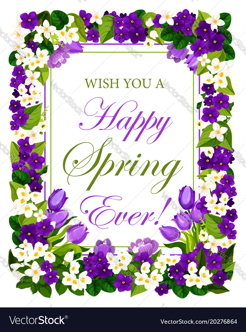 Happy Springtime Flowers Seasonal Poster Vector Image