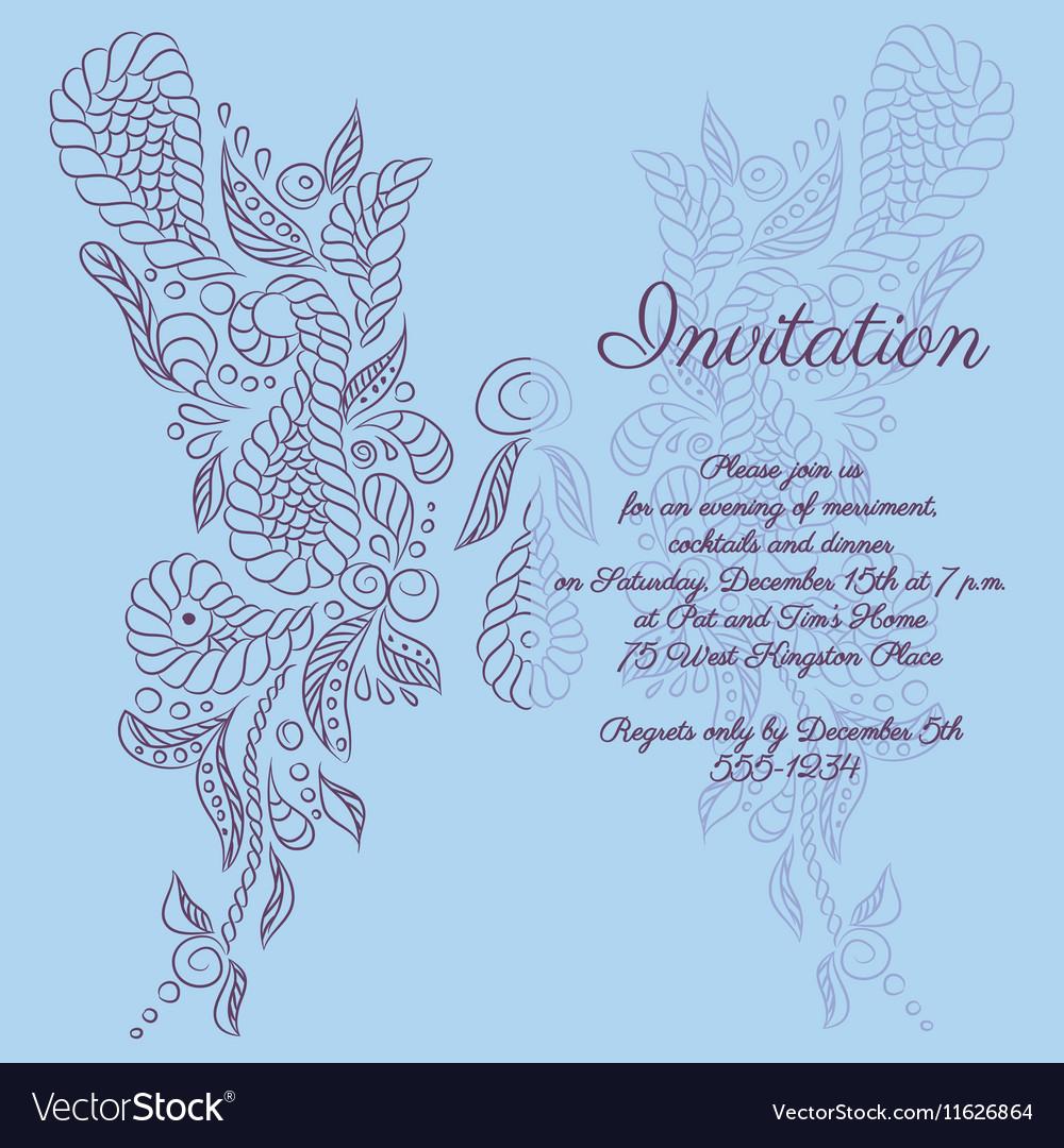 Invitation Blue butterfly pattern