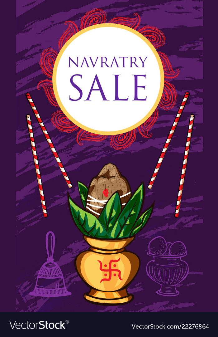 Navratry sale concept banner cartoon style