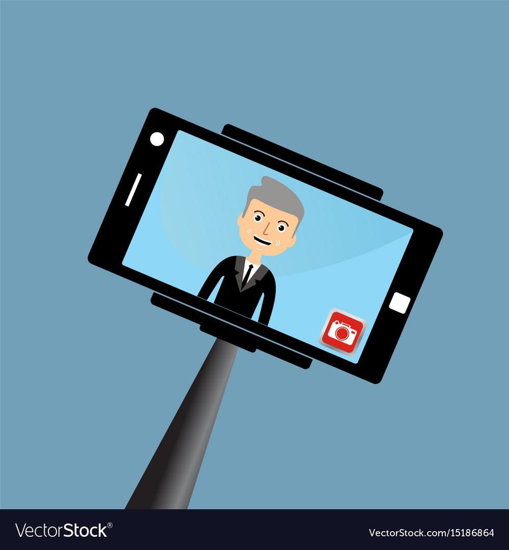 Old businessman making a selfie
