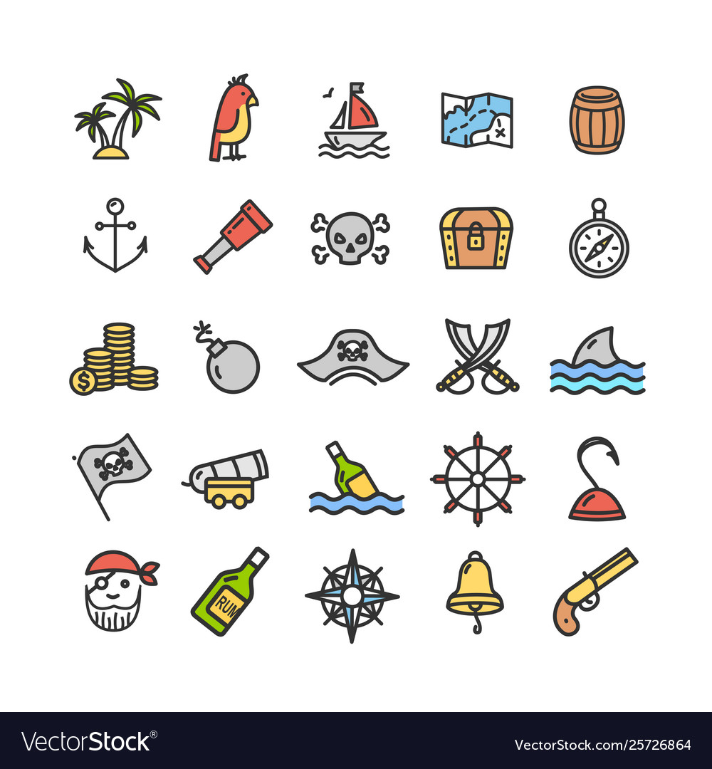 Pirate signs color thin line icon set