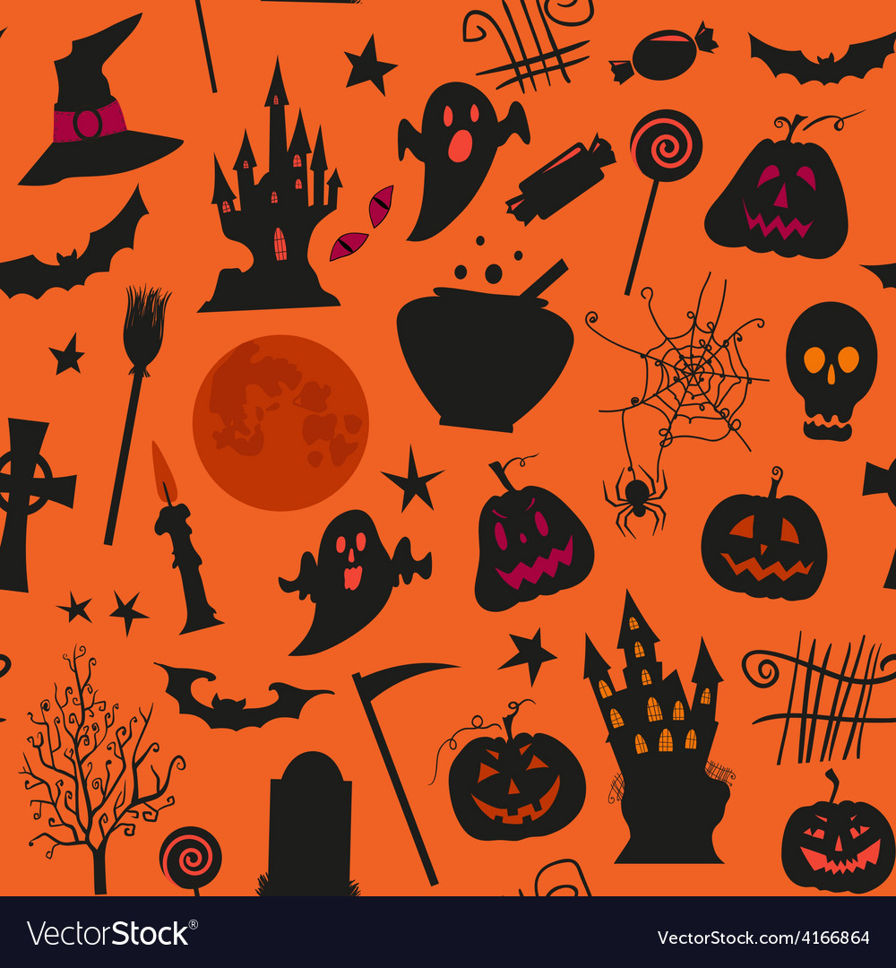 Seamless halloween pattern with castles candles