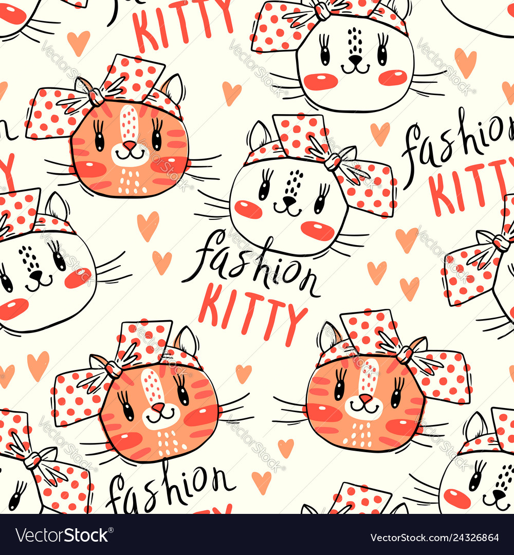 Seamless pattern with cute fase cats and bows
