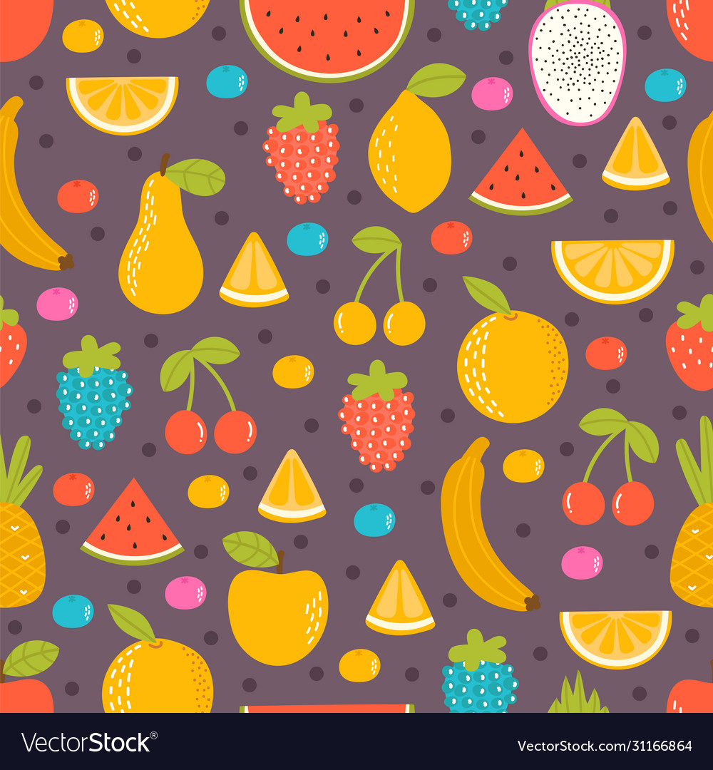 Seamless pattern with hand drawn fruit summer