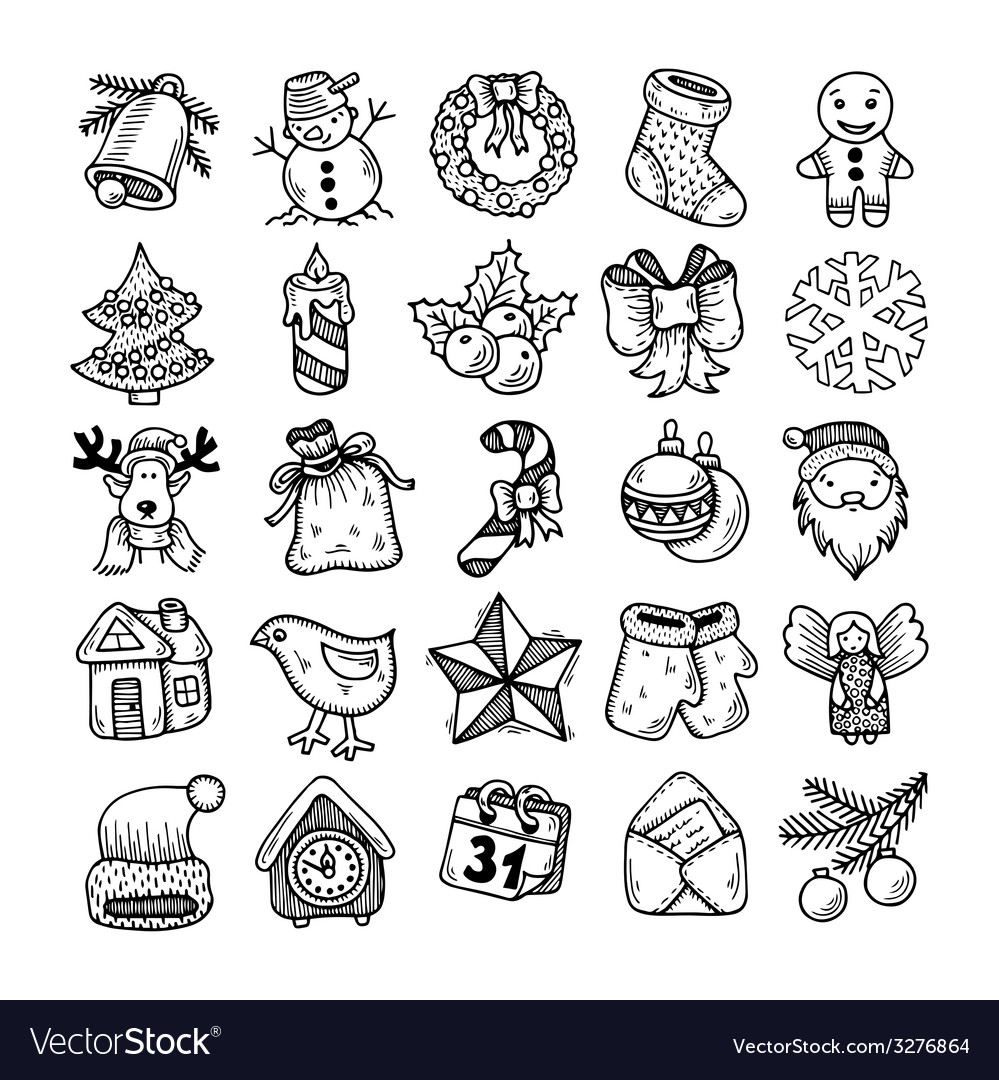Christmas Images For Drawing.Sketch Drawing Christmas Doodle Icons