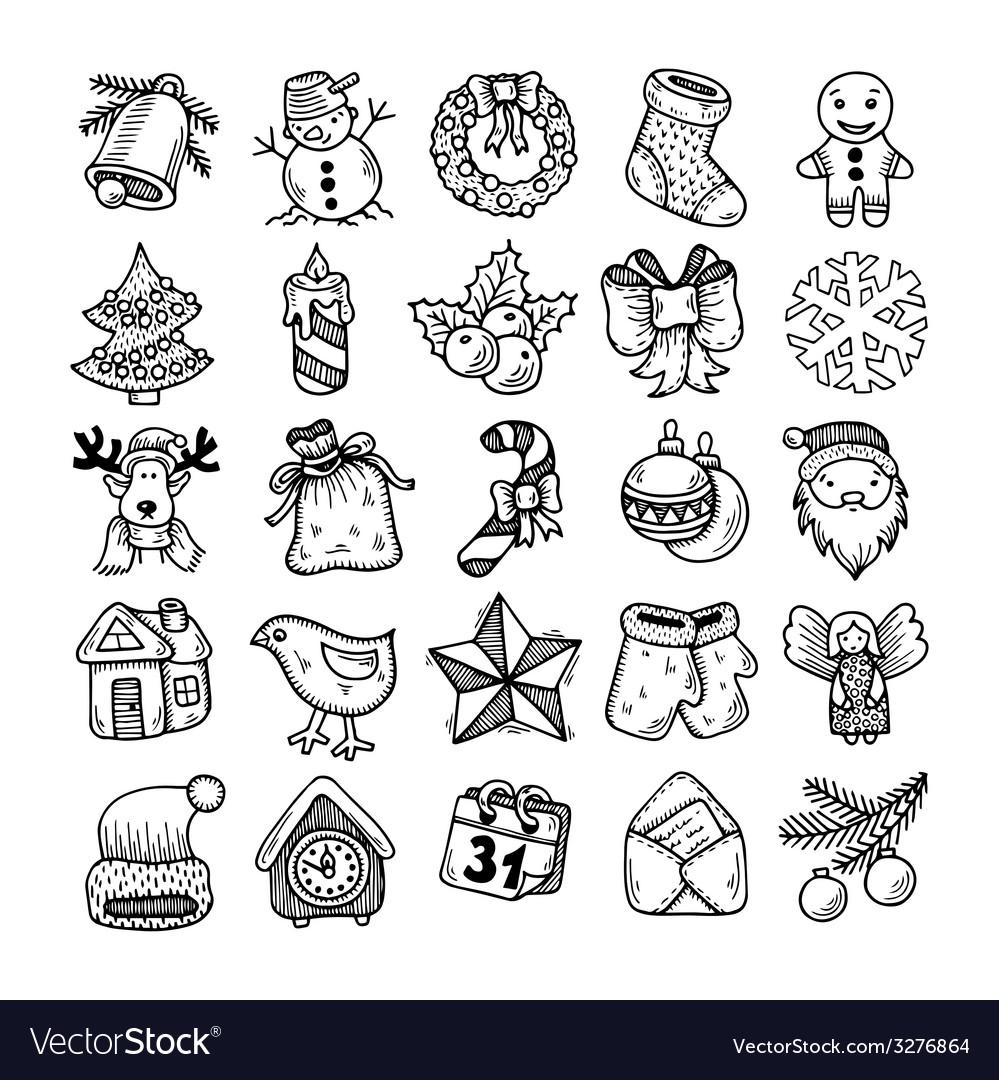 Christmas Drawing.Sketch Drawing Christmas Doodle Icons