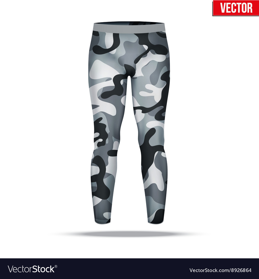 44bb89071af2e Under layer compression pants with in camouflage Vector Image