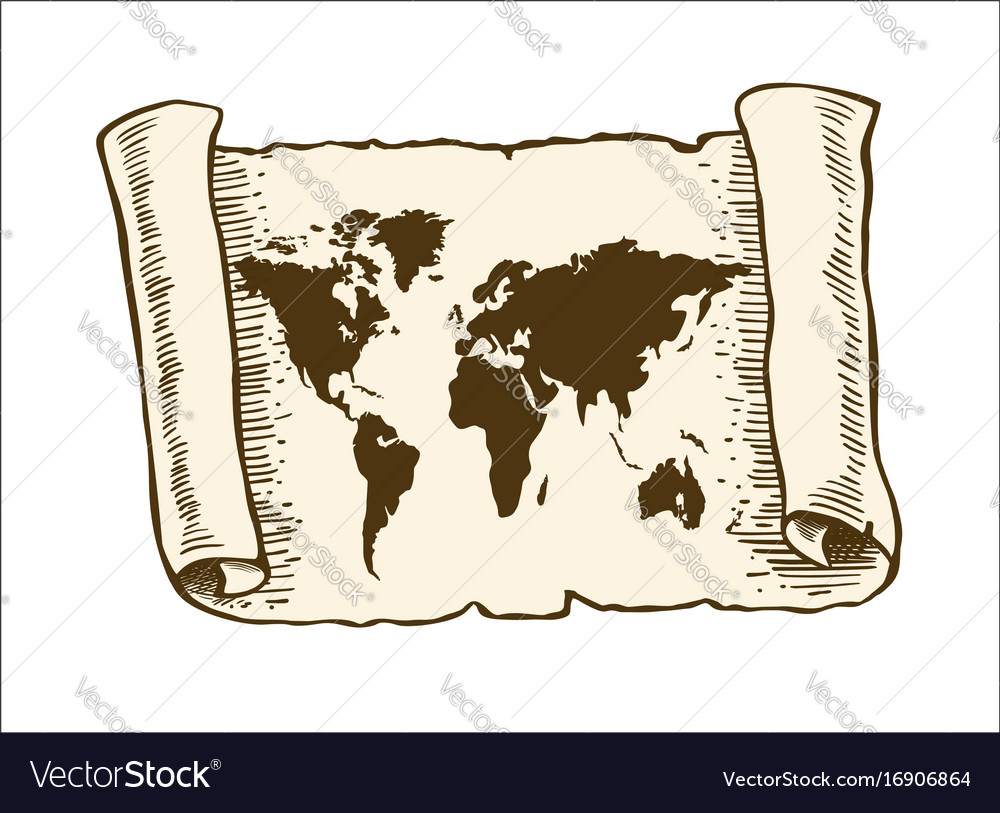 World map on old papyrus paper royalty free vector image world map on old papyrus paper vector image gumiabroncs Images