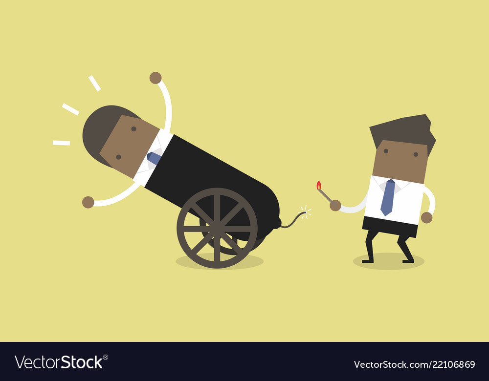 African businessman in cannon