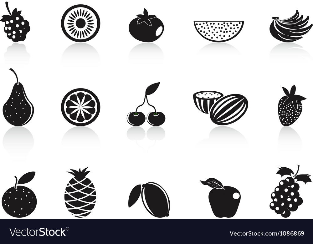 Black fruit icons set