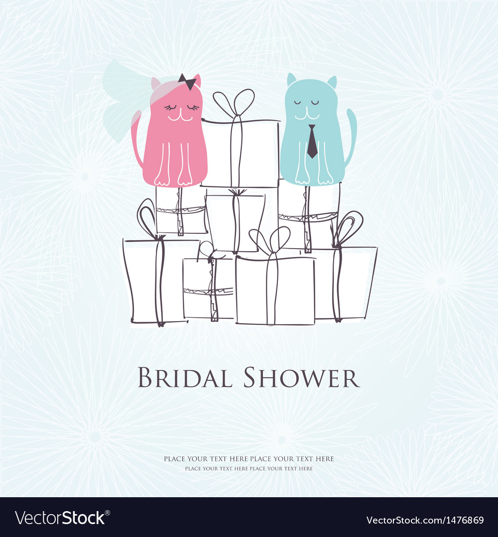 bridal shower invitation card with two cute cats vector image