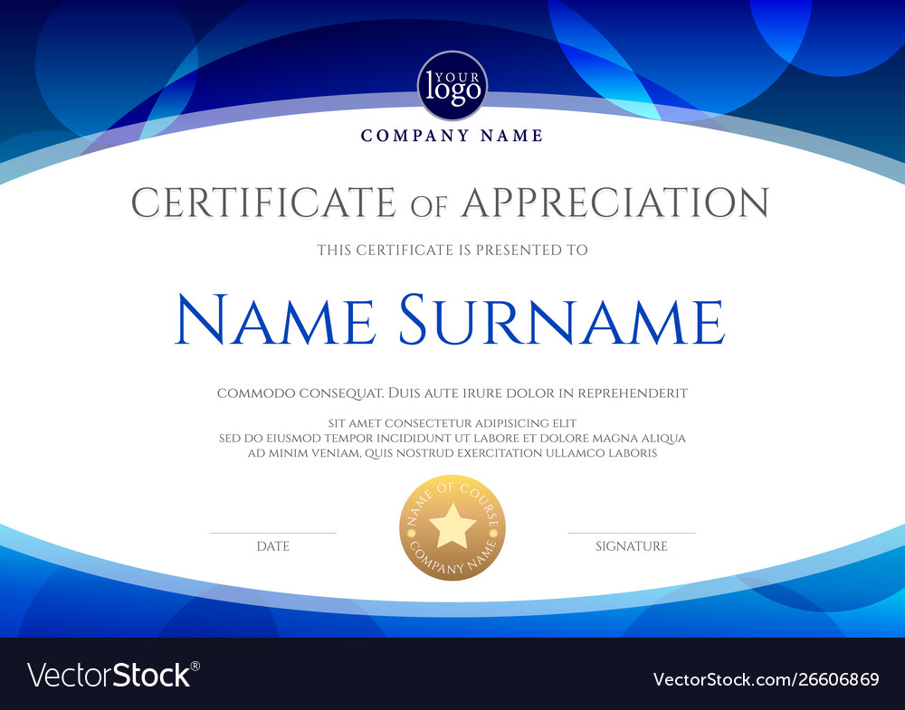 Certificate template with oval shape on blue