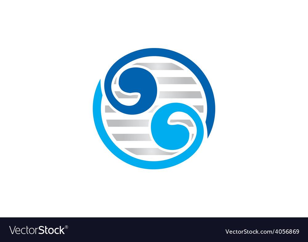Circle yin yang abstract swirl logo vector image