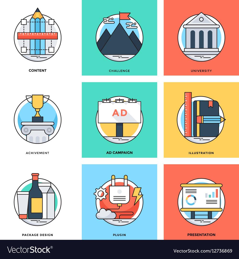Flat Color Line Design Concepts Icons 13