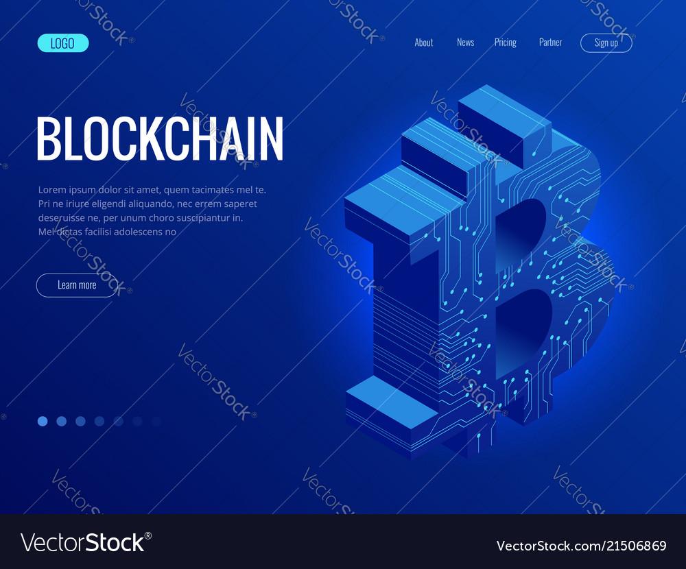 Isometric mining bitcoin farm cryptocurrency