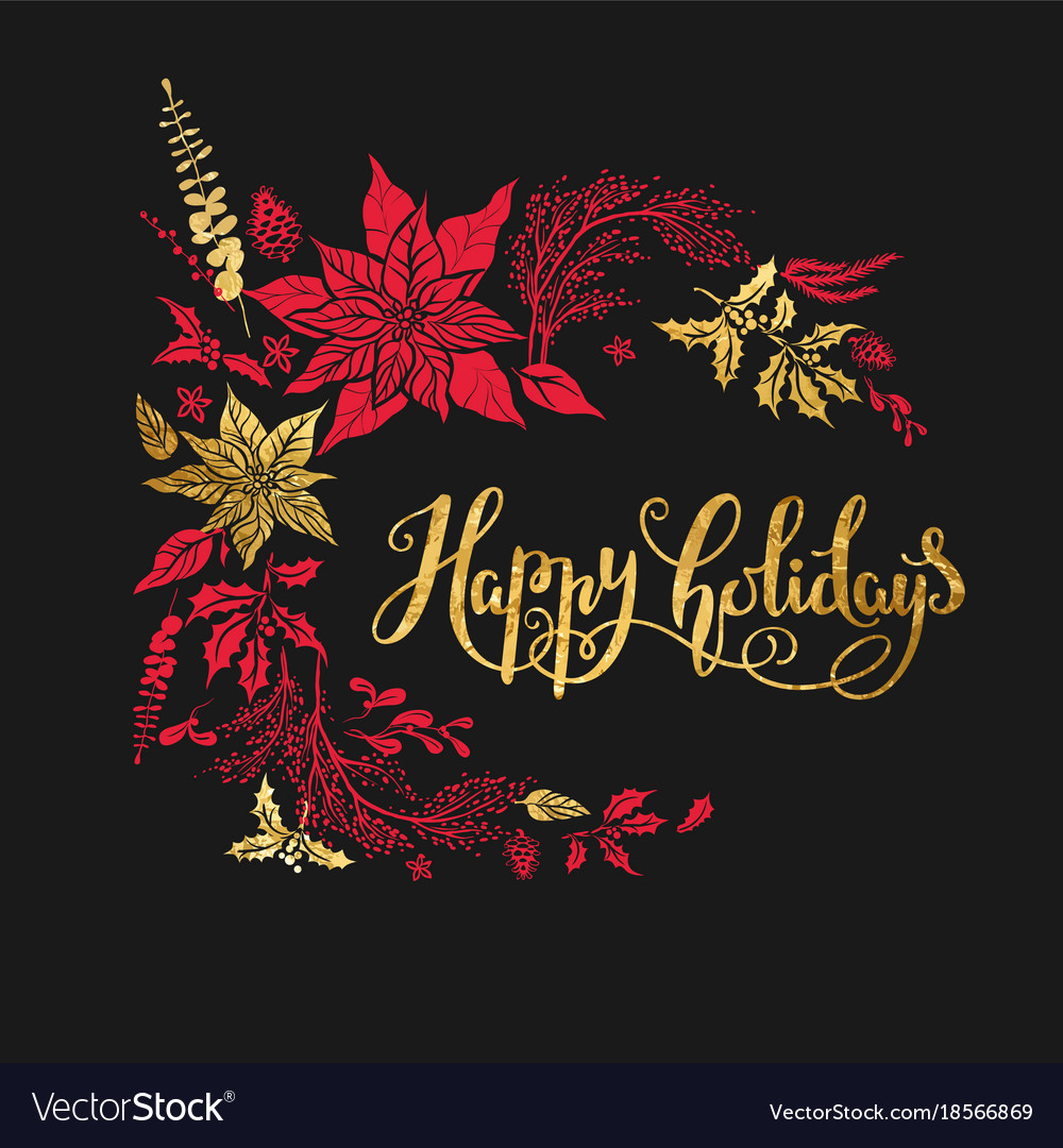 Merry christmas holiday dark design vector image