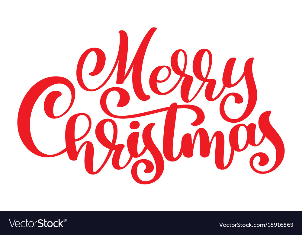 Merry Christmas Calligraphy.Red Text Merry Christmas Hand Written Calligraphy
