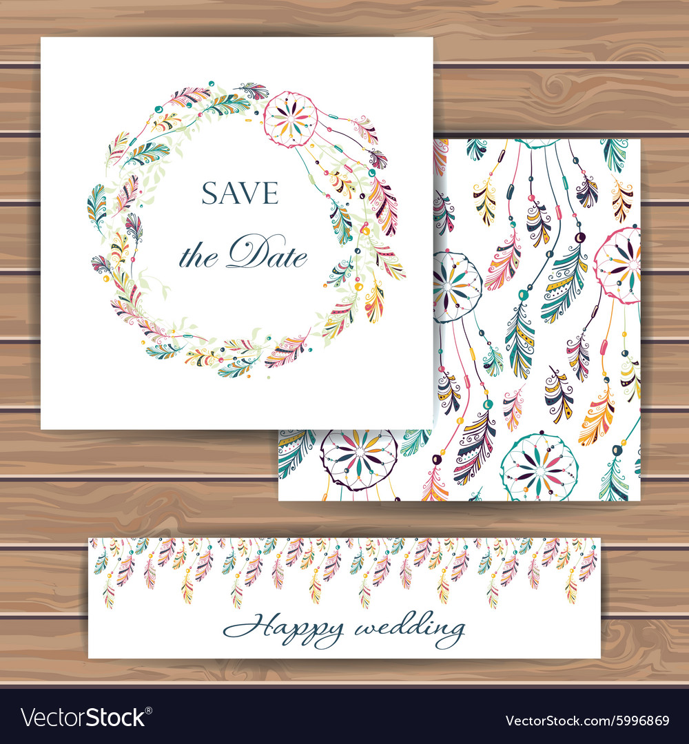 Save the date card with dream catcher
