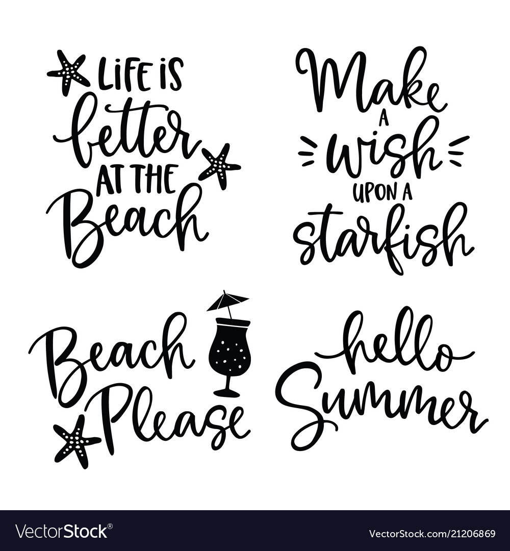 Set hand drawn lettering quotes card