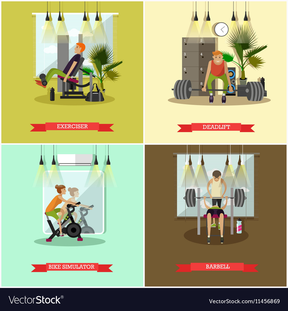 Set of gym posters Fitness and sport