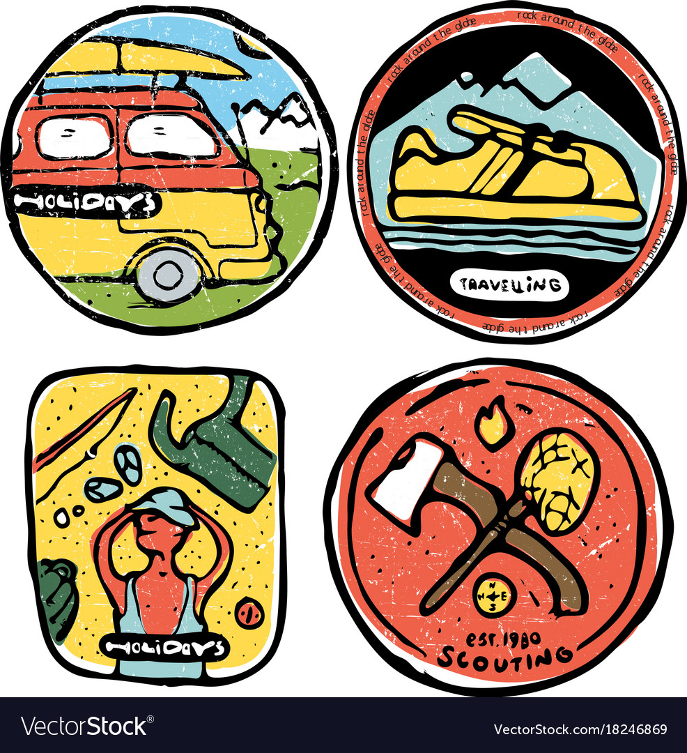 Traveling colored icons set vector image