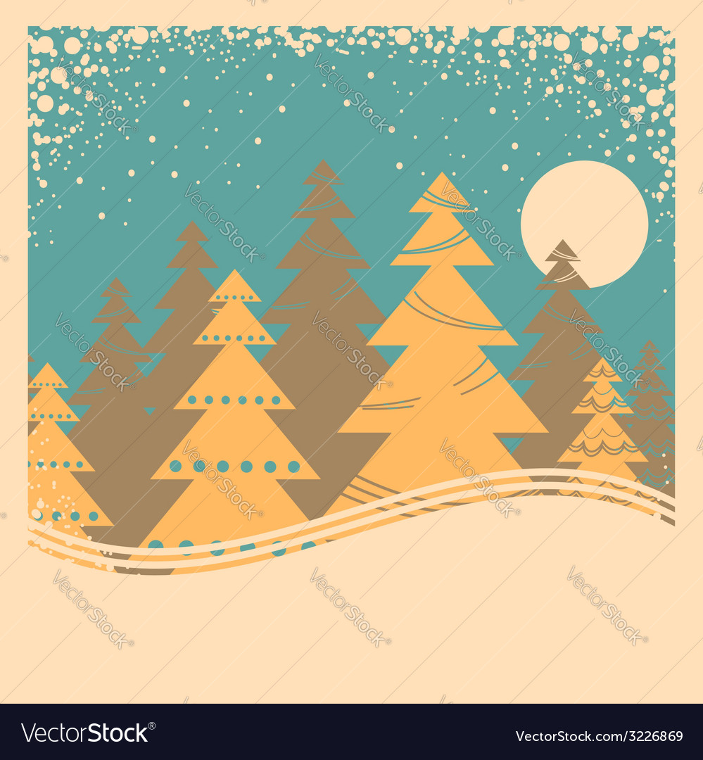 Vintage winter card with snow frame on old poster vector image