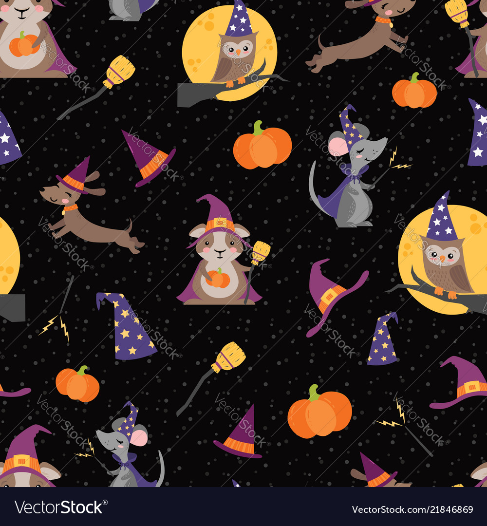 Wizard witch friends seamless pattern
