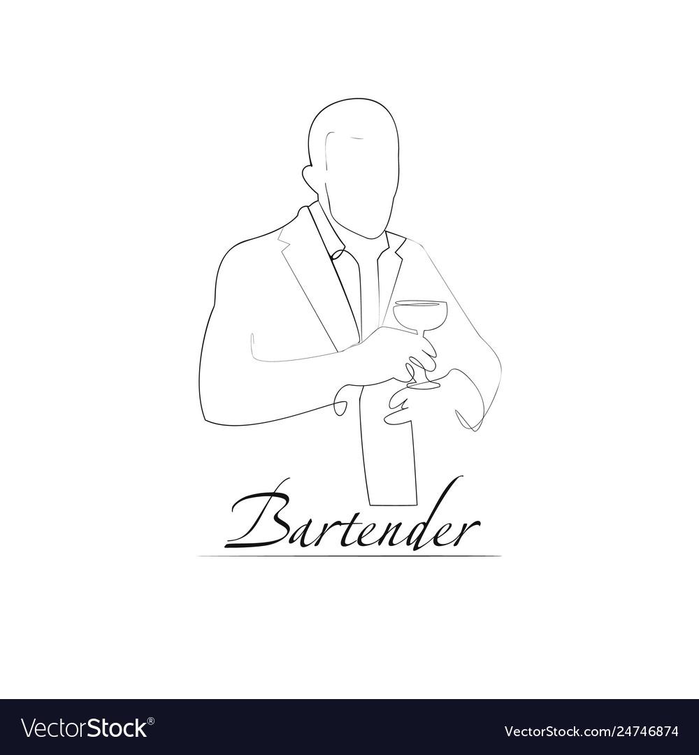 A barman outline style