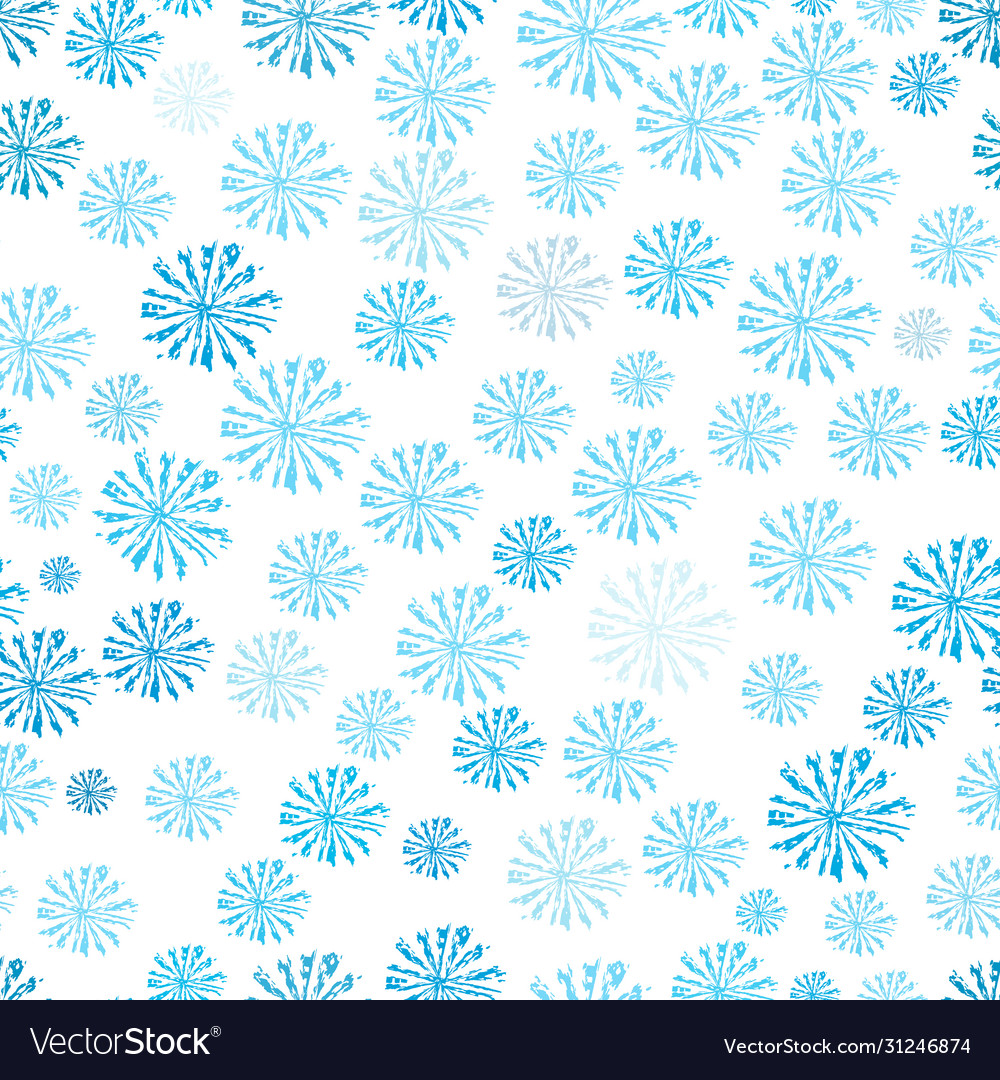 Blue snowflakes seamless pattern abstact