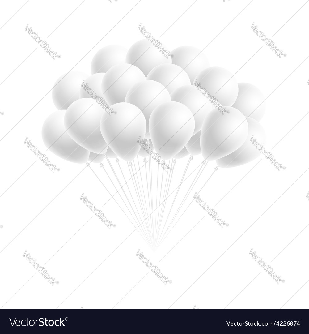 Bunch birthday or party white balloons